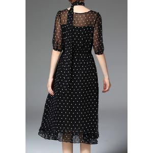 Dotted Silk Black Dress -