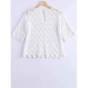 Elegant Scoop Neck 3/4 Sleeve Lace Openwork Top For Women -