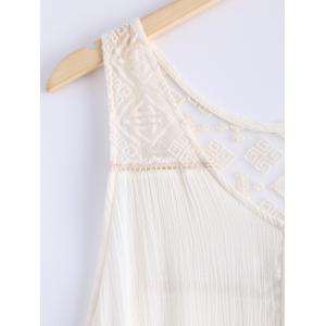 Simple Scoop Neck Lace Openwork Sleeveless Dress For Women -