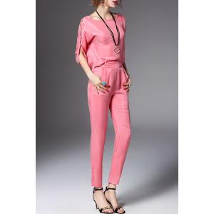 Scoop Neck Solid Color Blouse and Pants Twinset -