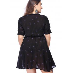 Chic Plus Size Tie Front Polka Dot Print Women's Dress -