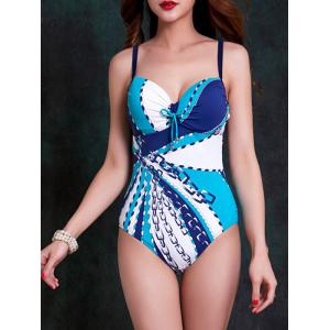 Fashionable Strappy Cut Out Striped One-Piece Swimsuit For Women