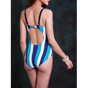 Fashionable Strappy Cut Out Striped One-Piece Swimsuit For Women - BLUE 2XL