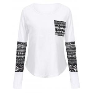 Brief Scoop Collar Long Sleeve Printed One Pocket Design Women's T-Shirt - White - S