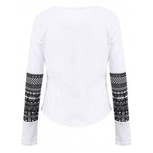 Brief Scoop Collar Long Sleeve Printed One Pocket Design Women's T-Shirt - WHITE S