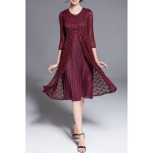 Three Quarter Sleeve Double Layer Lace Dress -