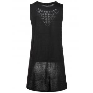 Stylish Round Collar Hollow Out High-Low Hem Tank Top For Women - BLACK XL