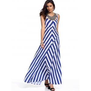 Sleeveless Zig Zag Empire Waist Maxi Tank Dress