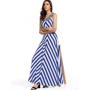 Sleeveless Zig Zag Empire Waist Maxi Tank Dress - STRIPE L