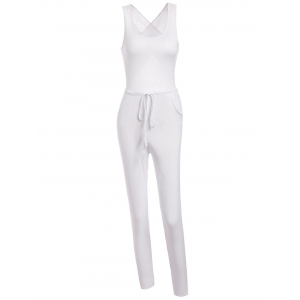 Sleeveless Hollow Out Drawstring Criss Cross Party Jumpsuit