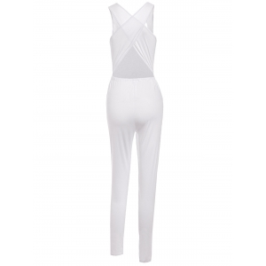 Stylish Scoop Neck Sleeveless Hollow Out Drawstring Women's Jumpsuit - WHITE S