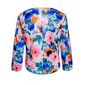 Full Floral Print Zip Pocket Blazer -