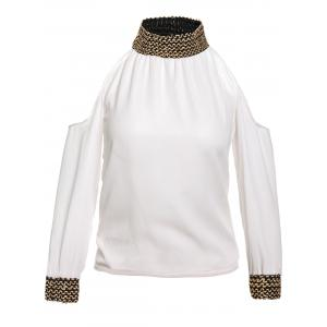 Stylish Round Neck Sequins Embellished 3/4 Sleeve Chiffon Blouse For Women