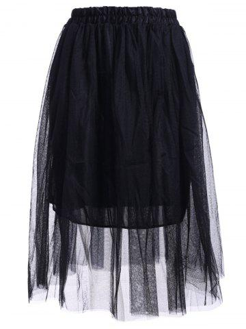 Shop Elastic Waist Puff Five Layers Tulle Skirt BLACK FREE SIZE