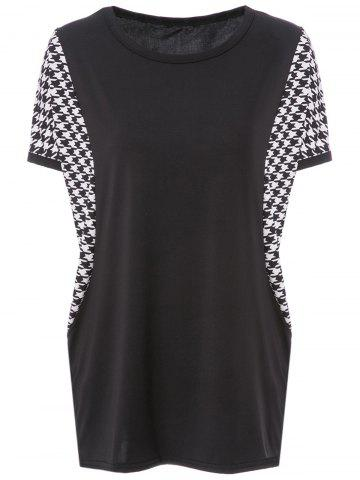 Shop Stylish Scoop Neck Dolman Sleeve Houndstooth T-Shirt For Women BLACK L