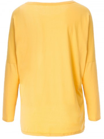 Shop Stylish Scoop Neck Long Sleeve Spliced Star Printed Women's T-Shirt - XL YELLOW AND BLACK Mobile