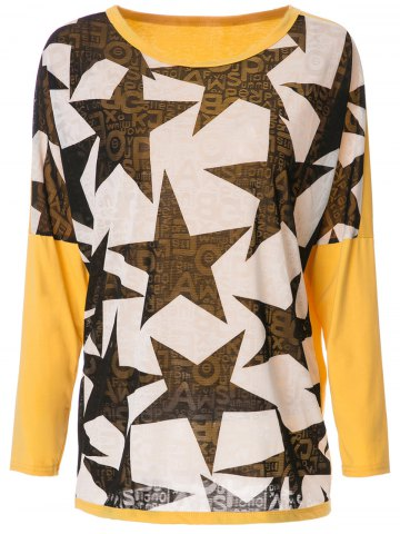 Store Stylish Scoop Neck Long Sleeve Spliced Star Printed Women's T-Shirt - XL YELLOW AND BLACK Mobile