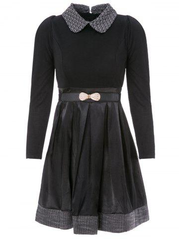 Buy Collared Long Sleeve Dress with Belt BLACK M