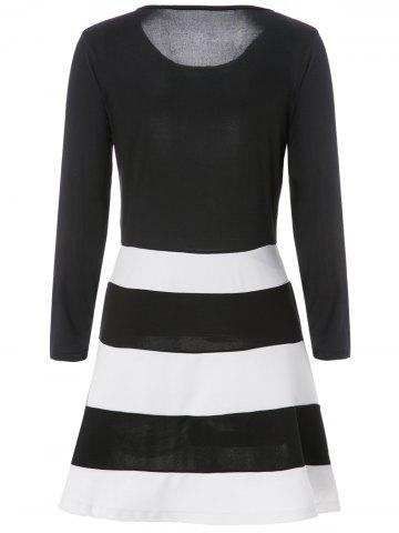 Fashion Color Block Striped Long Sleeve Dress - M WHITE AND BLACK Mobile