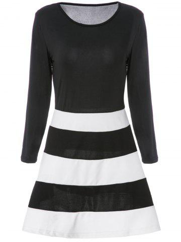 Hot Color Block Striped Long Sleeve Dress - M WHITE AND BLACK Mobile