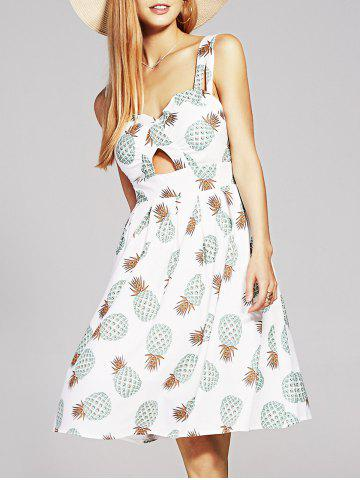 Latest Stylish Women's V Neck Hollow Out Pineapple Print Dress