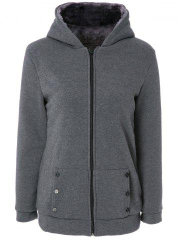 Stylish Long Sleeves Solid Color Zippered Flocking Hoodie For Women - DEEP GRAY M