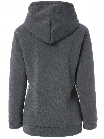 Fancy Stylish Long Sleeves Solid Color Zippered Flocking Hoodie For Women - M DEEP GRAY Mobile