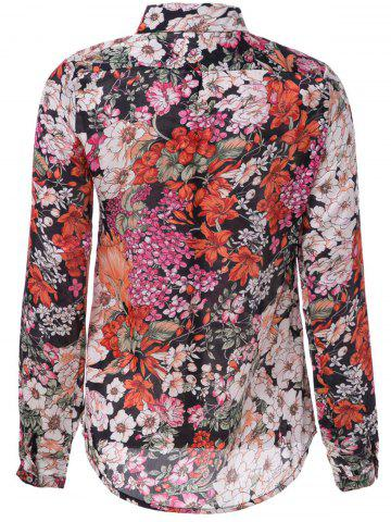 Discount Vintage Shirt Collar Long Sleeve Printed Chiffon Single-Breasted Women's Shirt - M COLORMIX Mobile