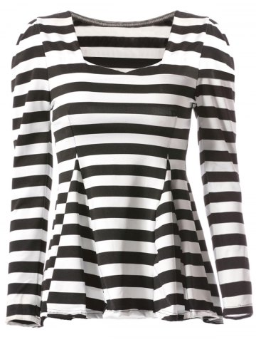 Latest Stylish Sweetheart Neckline Striped T-Shirt For Women - ONE SIZE(FIT SIZE XS TO M) STRIPE Mobile