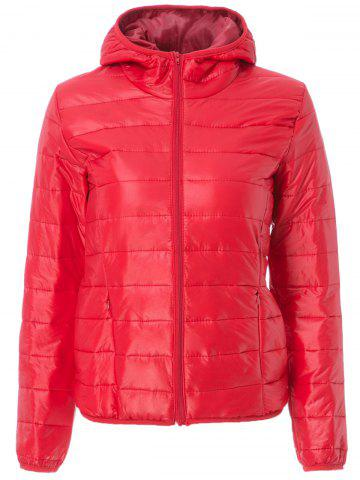 Cheap Stylish Hooded Long Sleeve Zippered Pocket Design Women's Down Jacket