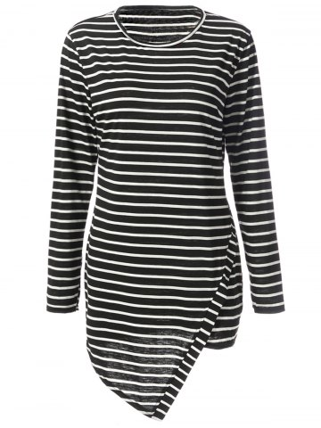 Store Simple Round Neck Long Sleeve Bodycon Striped Women's Dress STRIPE 2XL