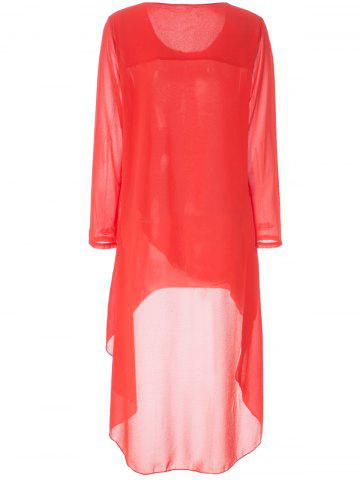 Best Simple Round Neck Long Sleeve Solid Color Chiffon Women's Dress - M ORANGE Mobile