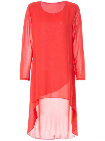 Hot Simple Round Neck Long Sleeve Solid Color Chiffon Women's Dress - M ORANGE Mobile