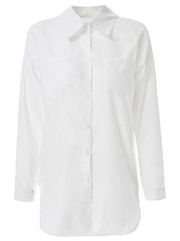Formal Long Sleeve Solid Color Zippered Shirt - WHITE ONE SIZE(FIT SIZE XS TO M)