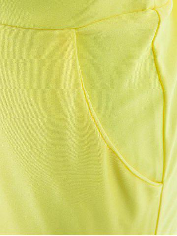 Fancy Sexy Spaghetti Strap Plunge Wide-Leg Party Jumpsui - S YELLOW Mobile