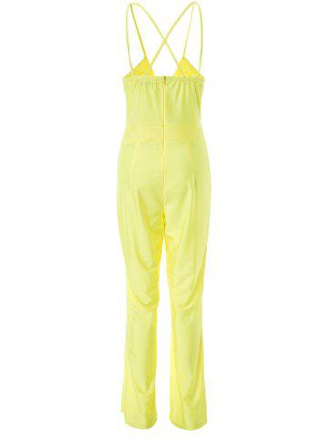 Outfits Sexy Spaghetti Strap Plunge Wide-Leg Party Jumpsui - L YELLOW Mobile