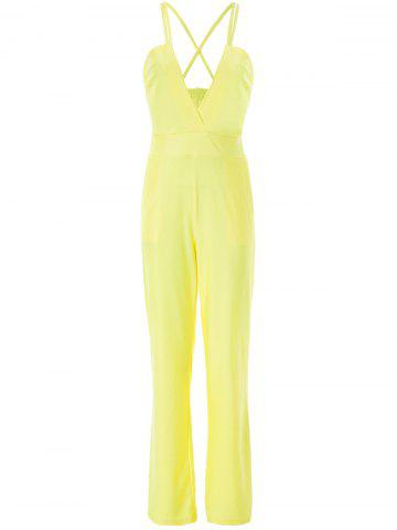Latest Sexy Spaghetti Strap Plunge Wide-Leg Party Jumpsui - L YELLOW Mobile