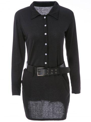 Affordable Simple Turn-Down Collar Long Sleeve Solid Color Button Design With Belt Women's Dress