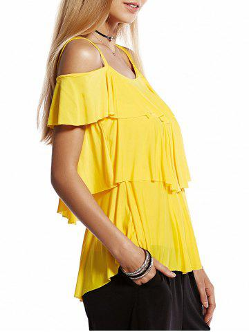 Shop Sweet Spaghetti Strap Short Sleeve Layered Pleated Women's Blouse