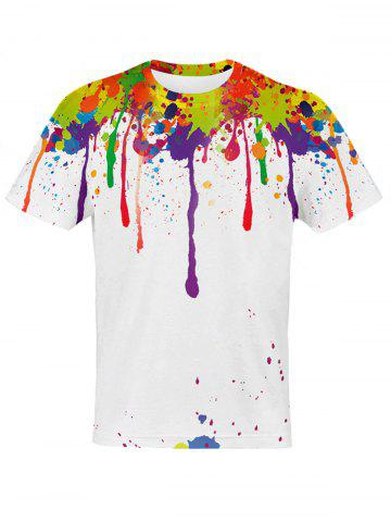 Fashion 3D Colorful Splatter Paint Pattern T-Shirt COLORMIX 2XL