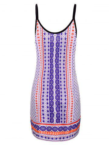 New Fashionable Spaghetti Strap Printed Dress For Women - XL COLORMIX Mobile
