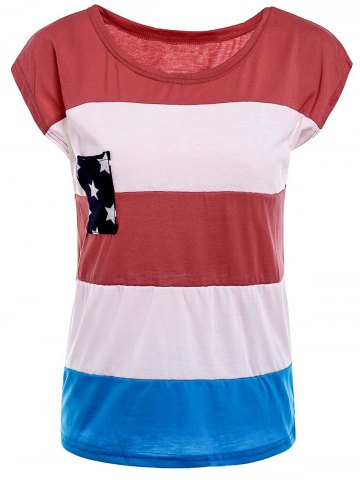 Outfit Distressed American Flag Print Short Sleeve T-Shirt RED L