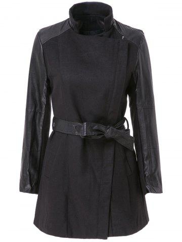 Fancy Stylish Stand-Up Collar Long Sleeve Zippered Spliced Women's Coat BLACK L