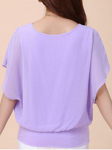 Unique Batwing Sleeves Flowing Chiffon Top - L PURPLE Mobile
