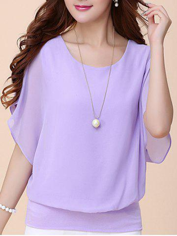 Fashion Batwing Sleeves Flowing Chiffon Top - S PURPLE Mobile