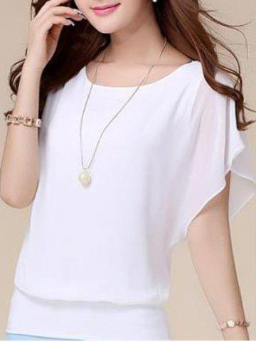 Batwing Sleeves Flowing Chiffon Top - White - M