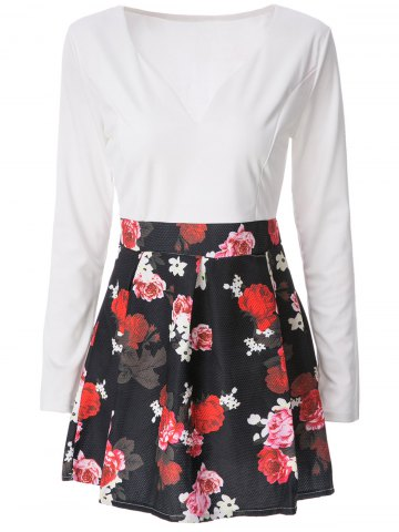 Online Sexy Plunging Neck Long Sleeve Floral Print Women's Dress WHITE L