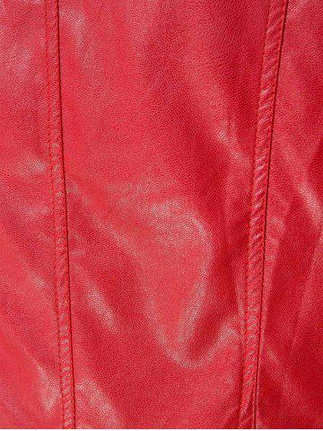 Affordable Stylish Round Neck Long Sleeve Solid Color Zippered PU Women's Jacket - 2XL RED Mobile