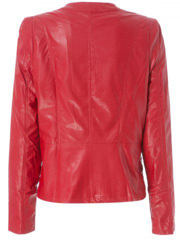 Best Stylish Round Neck Long Sleeve Solid Color Zippered PU Women's Jacket - 2XL RED Mobile