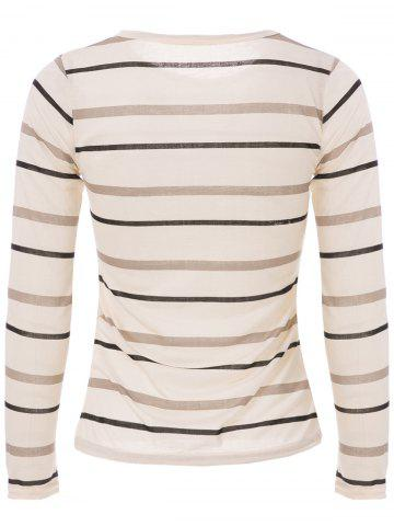 Latest Fashionable Scoop Neck Long Sleeve Striped T-Shirt For Women - M LIGHT YELLOW Mobile